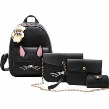 Обувь для девочек милые школьные сумки четыре штуки один набор Рюкзаки изображение Вышивка Крестом Пакет Для женщин Сумки из искусственной кожи рюкзак мешок рюкзак Mujer XA227B
