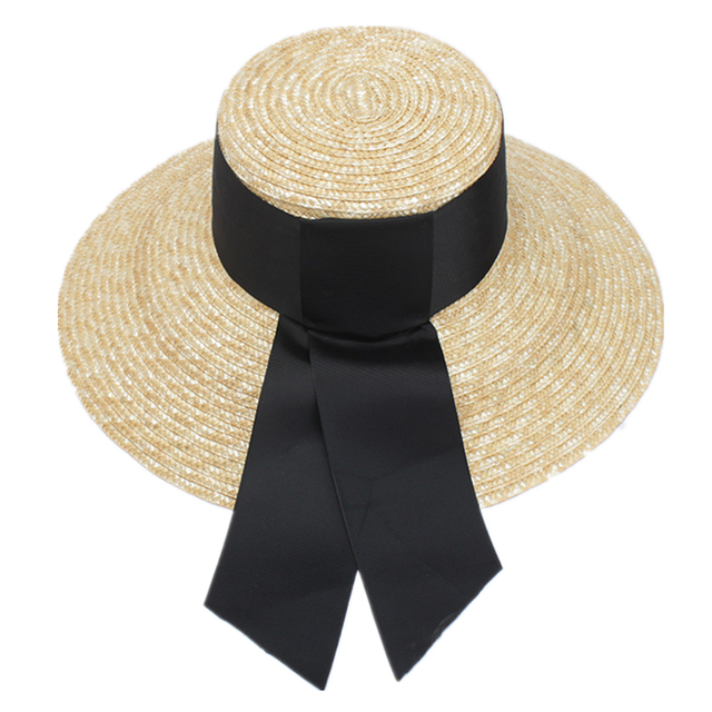 9bc21396da4 Summer Unisex Handmade Straw Flat Top Caps Women Large Wide Brim Sun Hat  With Bow Beach