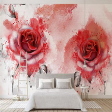 Custom wallpaper now modern minimalist abstract watercolor hand-painted rose background wall painting waterproof material