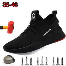 Work safety Mens Steel Toe Shoes Breathable Outdoor Casual Sneakers Comfortable Boots Industrial Puncture Proof for Men