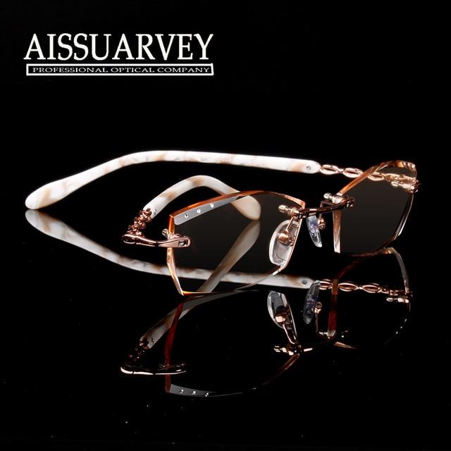 Женщины очки кадр оптической моды очки бренда дизайнерские очки без оправы металла алмазов горный хрусталь элегантный обрезки