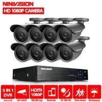 8CH AHD DVR System 8pcs AHD 2.0MP 3000TVL Black outdoor Warterproof Night Vision IR Camera with IR Cut economical cctv system