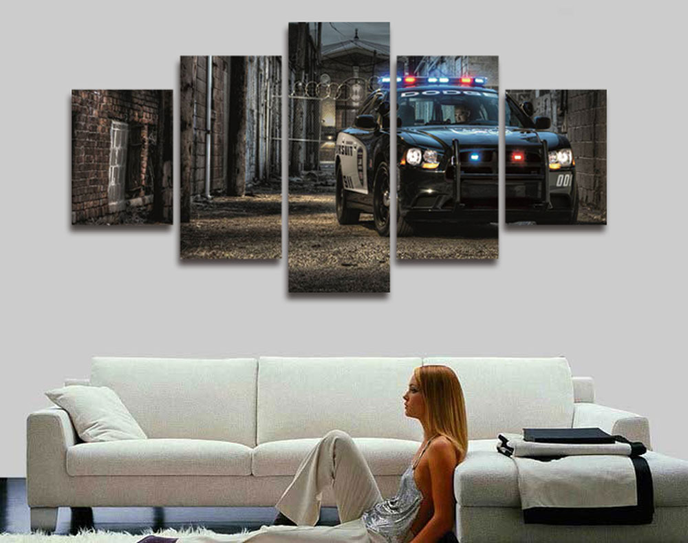 New 5 Pieces/sets Canvas Art Canvas Paintings Police Car Wall Art ...