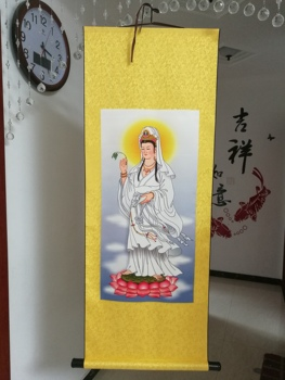 Home Efficacious Spiritual protection Bless family safe Health Lotus Guanyin Buddha FENG SHUI Decorative chinese silk painting