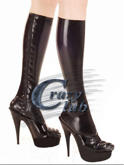 Louco club_Top Moda Produtos Limitada Erotic Sexy Meia meias de látex de Baixo na altura do joelho com zip Personalizado plus size Entrega Rápida