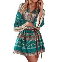 2018 Summer Ladies Bohemian Floral Beach Dresses Gothic Tunics 4XL 5XL Plus Size Half Sleeve Retro