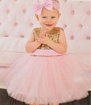 c77c038709a9e Glitter pink ball gown tutu princess baby 1 year Birthday party dresses  bling Golden sequins keyhole back kids flower girl dress