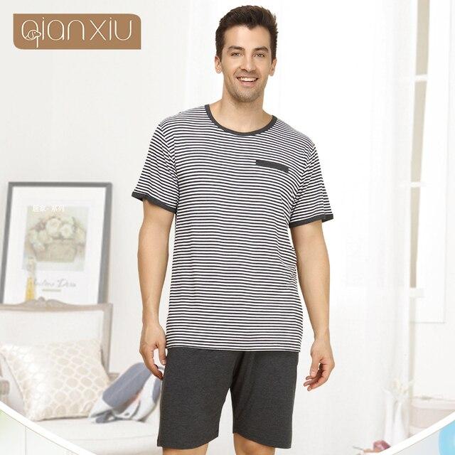 Qianxiu Marca Pijamas de Punto Modal ropa de Dormir ropa de Dormir O-cuello de Los Hombres conjuntos de Pijamas