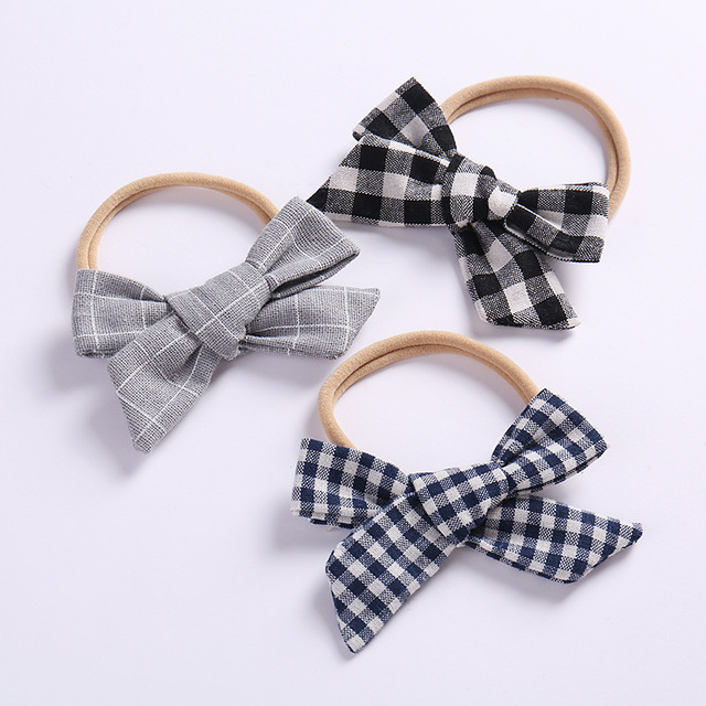 2020 Spring Gingham Check Headband Removal Bow Hair Tie Band School Uniform