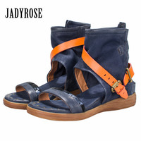 Jady Rose 2018 New Summer Women Sandals Thick Heel Comfortable Wedge Shoes Female Genuine Leather Platform