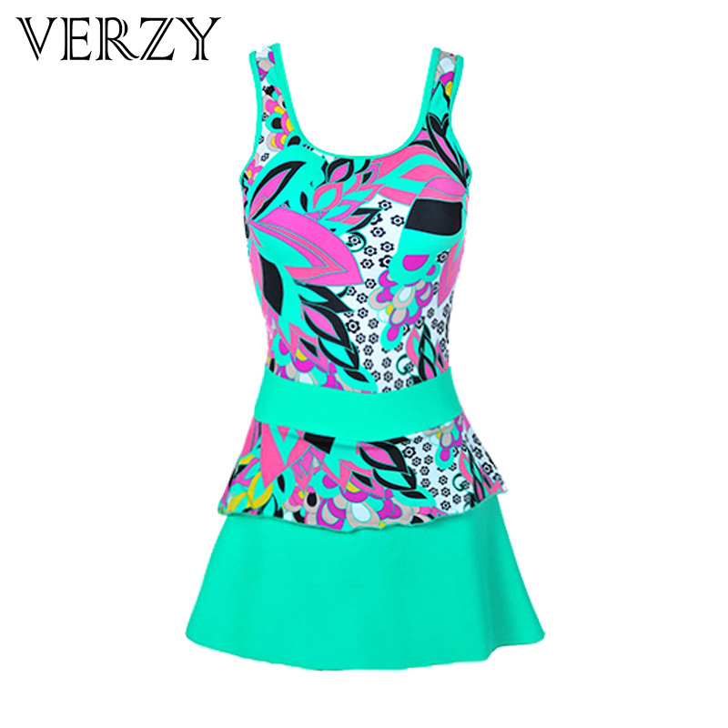 2016 Pretty women beach dress Cute sexy  A-Line dresses swimwear Print Young lady One Piece swimsuit Summer Party Dress