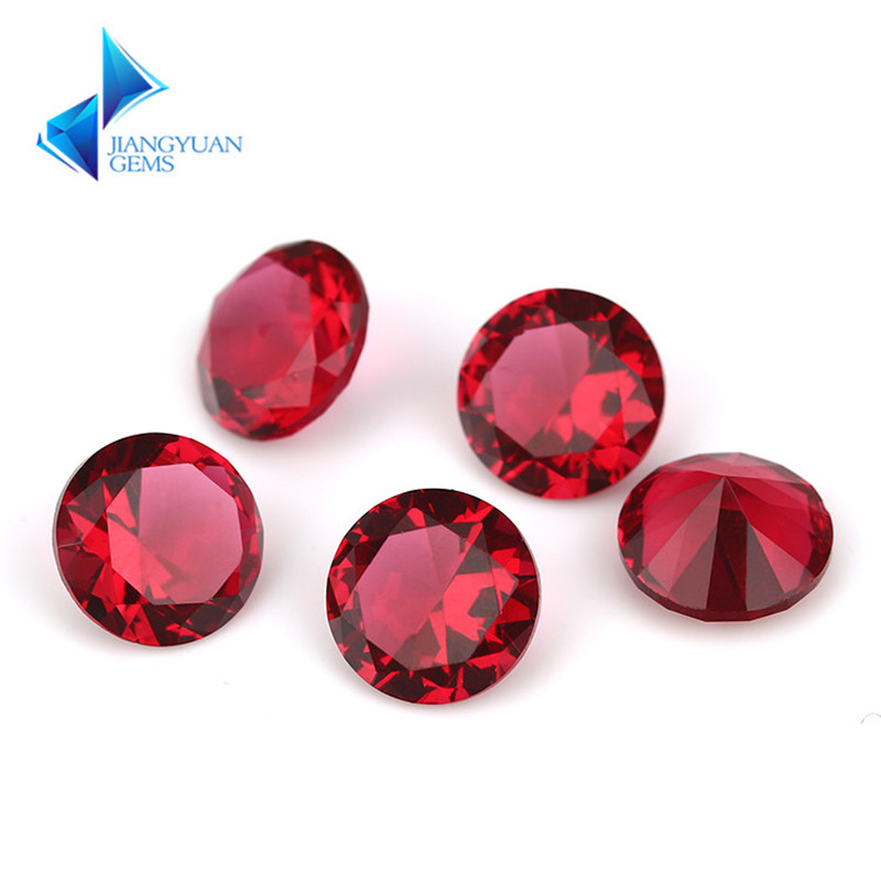 1 ~ 15mm Rose Red Color Round Shape Machine Cut Loose Glass Stone Synthetic Gems For Jewlry