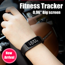 LONGET 0 96 Big Screen Bluetooth font b Smart b font Bracelet Heart Rate Monitor Sport