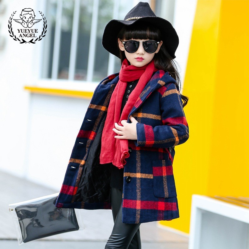 Coats Wool Children Baby Clothes Hooded Single-Breasted Plaid Girl Wool Winter Jacket Thicken Warm Long Woolen Coat Girls Belt все цены