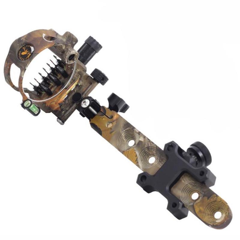 7 Pins Compound Bow Sight 0 019 Optical Fiber Retinal Sight 23cm CNC Aluminum Horizontal Vertical