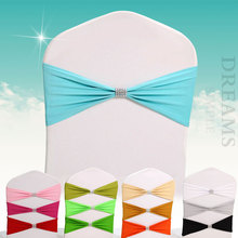 10pcs Elastic Lycra Chair Sash Wedding Spandex Stretch  Band With buckle hotel decoration cover