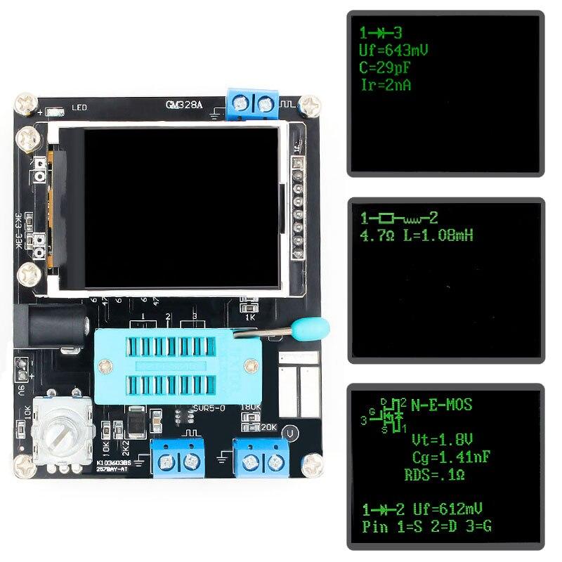LCD GM328A Transistor Tester Diode Kapazität ESR Spannung Frequenz Meter PWM Platz Welle Signal Generator SMT Löten