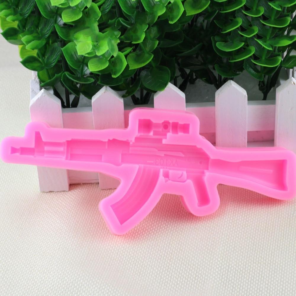 Chocolate Making Cake Decorating And Sugarcraft : 3D Gun Design Silicone Cake Mold Sugarcraft Fondant Cake ...