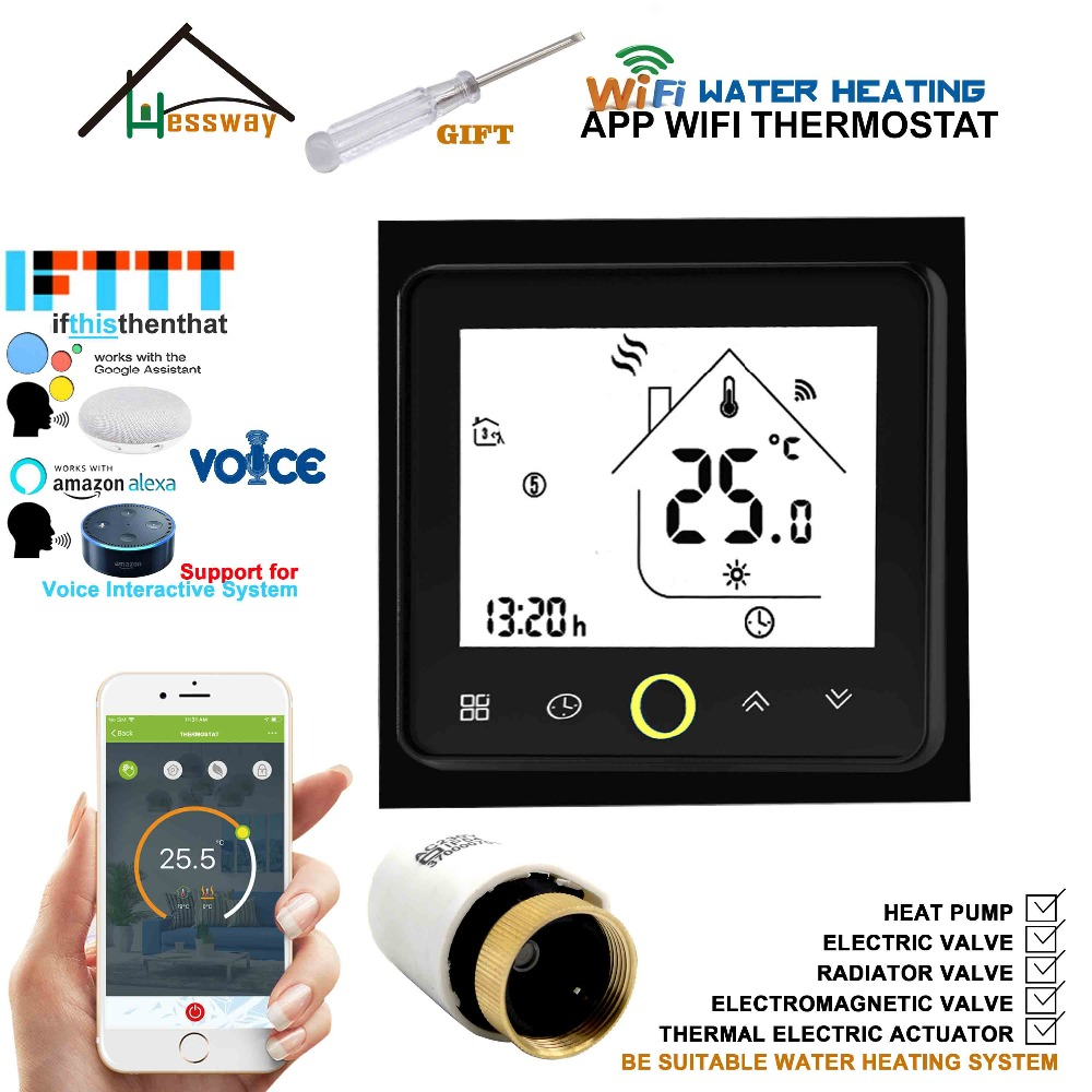 Wifi Radiator Thermostat Programmable Temperature Controller Voice Interaction Alexa Google Home Control For Floor Heating 3A