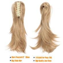"""SNOILITE 12 """"שיער חתיכה טופר על קוקו סינטטי שיער קליפ שיער הרחבות פאה פוני זנב Bendable זנב שיער עבור נשים"""