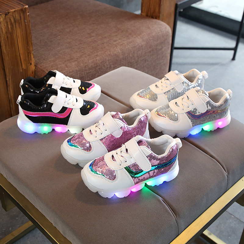 LED princess noble girls shoes hot sales fashion lighted kids shoes Lovely cute children sneakers sports infant tennis footwear