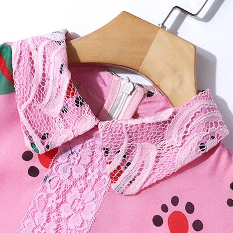 Stampa Collare Molla A Di Pizzo Maniche Bambola Alta Della Casual Traspirante Elegante Donne Del Rosa Estate Colore Lunghe 2019 Vestito Qualità Modo aaw6Y