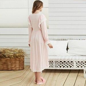 Image 4 - Gentlewoman Nightgown Vintageลูกไม้ชุดนอนผ้าฝ้ายผู้หญิงสีขาวชุดนอนแขนยาวNightdressสุภาพสตรีสีชมพู
