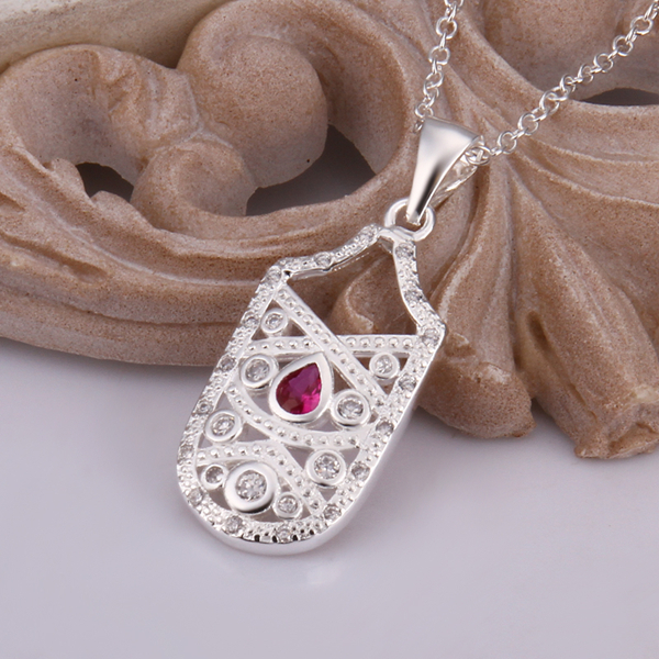 2016 New 925 sterling silver long square dog tag pendant with stone necklace for women jewerly wholesale