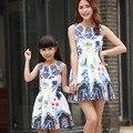 Shpping libre 2016 vestidos a juego de la familia de madre e hija clothing girls vestido formal sin mangas imprimir una línea de vestido para el verano