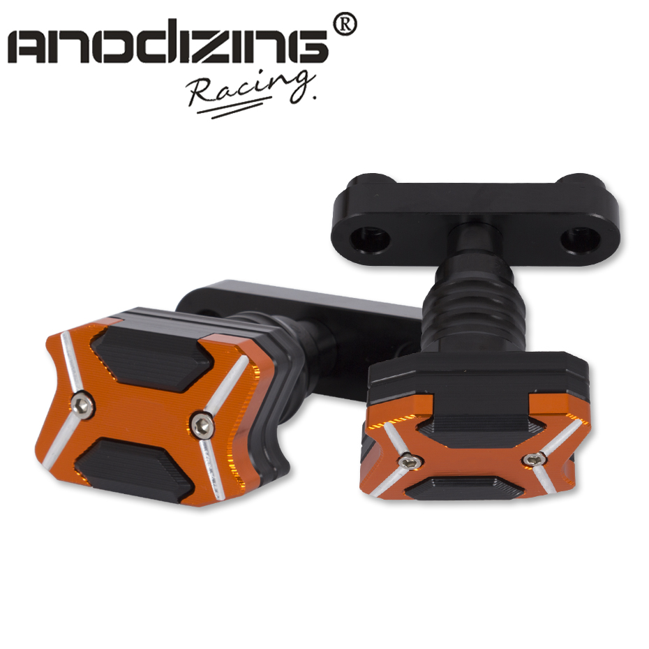 Free Shipping  NEW CNC Aluminum Left and Right Motorcycle Frame Slider  For KTM DUKE RC 125 250 390 Anti Crash pads Protector high quality for ktm duke 125 200 390 motorcycle orange aluminum motorbike left and right frame slider anti crash protector