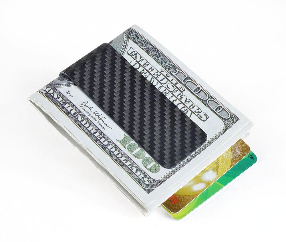 Real Carbon Fiber Money Clip Business Card Credit Card Cash Wallet ...