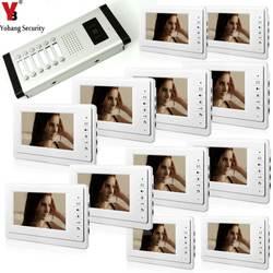 YobangSecurity 7 дюймов Цвет HD Видео Домофонные визуальные домофон дверь 12 монитор 1 Камера интерком для 12 многоквартирных домов