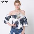 Arjungo hombro algodón de hojas De Coco imprimir blusa Ocasional de la camisa blusa de las mujeres Atractivas del verano de la manga blusa fresca BLA8803
