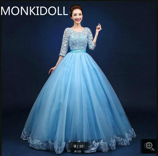 Robe De Soiree cheap ball gown blue lace 3/4 sleeve prom dress ...