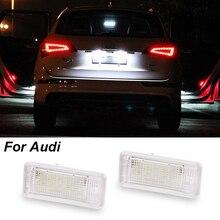 2 шт. водить автомобиль Подсветка регистрационного номера 12 В SMD3528 номер плиты Лампа Комплект для Audi A3 S3 A4 S4 B6 b7 A6 C6 S6 A8 S8 RS4 RS6 Q7