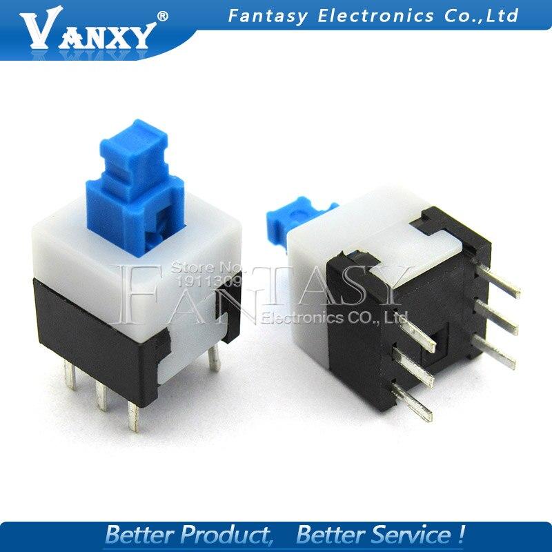 20PCS 8X8 8*8 mm 6Pin Push Tactile Switch Self lock /Off button Latching switch Wholesale Electronic