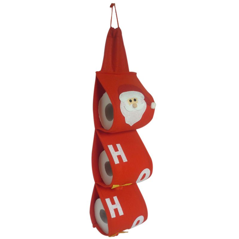 Red <font><b>Christmas</b></font> Santa Claus Toilet Roll Paper Holder Hanger Tissue Box Cover Bathroom Accessories Bedroom door hanging Bag image