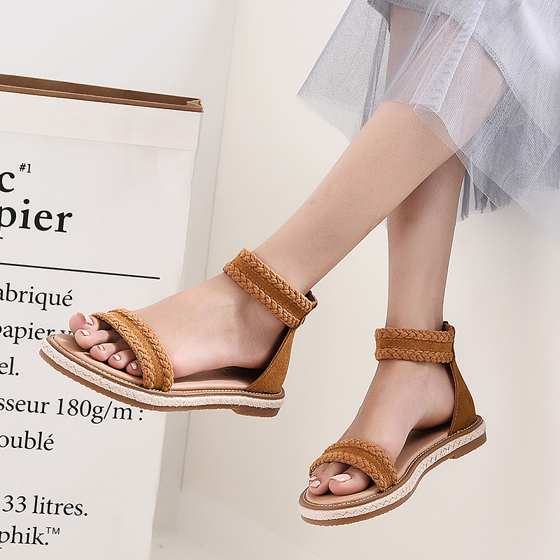 Leather Women Fashion Style Summer Sandals 2018 Comfort Flat Female Beach Sandals Ladies Footwear Casual Shoes Women CLD956 new casual women sandals shoes summer fashion slip on female sandals bohemian wild ladies flat shoes beach women footwear bt537