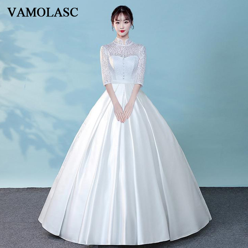 VAMOLASC Buttons High Neck Bow Sash Ball Gown Wedding Dresses Lace Embroidery Half Sleeve Backless Bridal Gowns