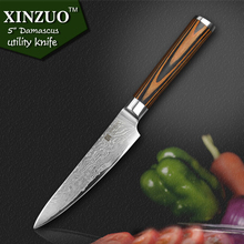 XINZUO 5″ utility knife high quality Japanese VG10 Damascus steel kitchen knives table knife wood handle fashion FREE SHIPPING