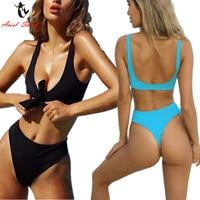 Ariel Sarah Brand Sexy Halter Swimsuit Bandage Bikini Sets Solid Brazilian Bikini Bathing Suit Women Swimwear