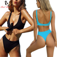 Ariel Sarah Brand Sexy Halter Swimsuit Bandage Bikini Sets Solid Brazilian Bikini Bathing Suit Women Swimwear