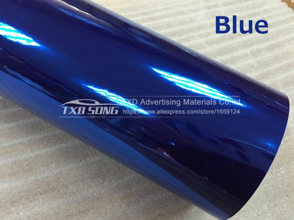 Высокая растягивающаяся Водонепроницаемая УФ-защита темно-синяя Хромовая зеркальная виниловая пленка, рулонная пленка для автомобиля, наклейка, лист - Название цвета: BLUE