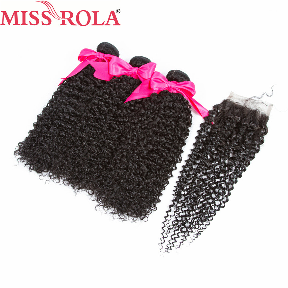 Miss Rola Hair Pre-colored Brazilian Kinky Curly 3 Bundles with Closure 100% Human Hair Extensions #1B Non-Remy Hair
