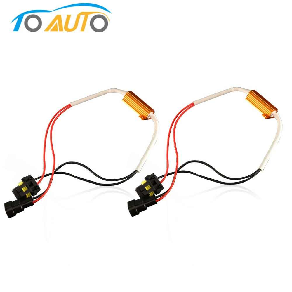 2PCS 50W H4 H7 H8 H11 9005 HB3 9006 HB4 LED Bulb Decoder Car Resistor Canbus Cable No Flickering Error Canceller Fix Blink