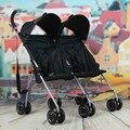 Bebés doble coche cochecito ligero carro portátil el gemelo del cochecito de bebé