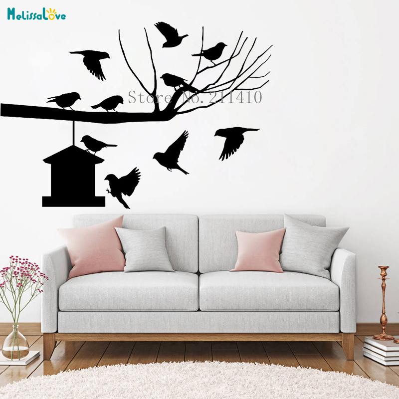 Tree Wall Sticker Vinyl Branch With A Bird House Decals Home Decoration For  Living Room Bedroom Self Adhesive Art Murals YT550