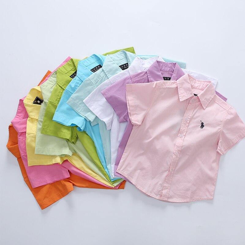 2017 Hot Sale קידום בייבי ילדים מוצק 100% כותנה קצר שרוול בית הספר חולצות לבנים ילדים בגדי ילדים 100-160cm