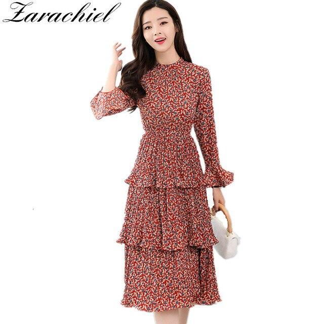 6dd985ddce83f Women Spring Printed Flower Dress New 2019 Elegant Long Flare Sleeve Layer  Cake Pleated Dress Female Medium Long Chiffon Dress