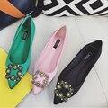 Zapatos de primavera mujer moda superficie de Seda Cuadrada hebilla de diamantes de imitación de las mujeres dulces zapatos de punta cabeza plana solos zapatos femeninos